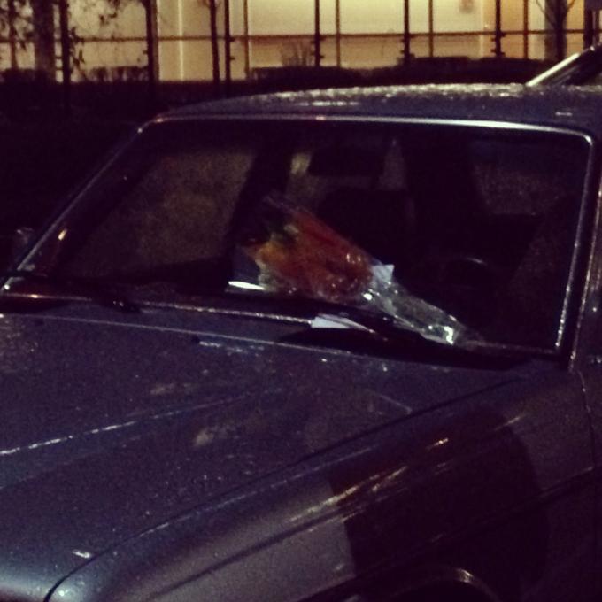 Random Act #5: Left flowers on a car in the ER parking lot at Overlake Hospital
