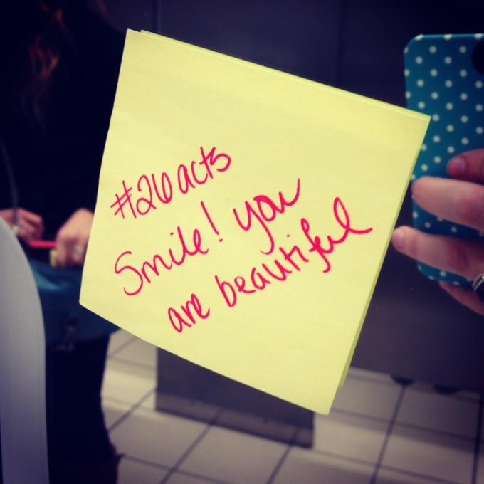 Random Act #25: Left encouraging messages on bathroom mirrors