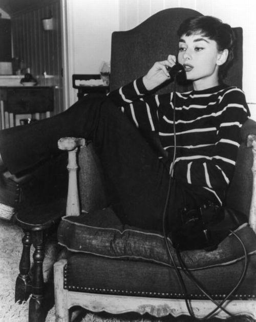 Audrey Hepburn in stripes