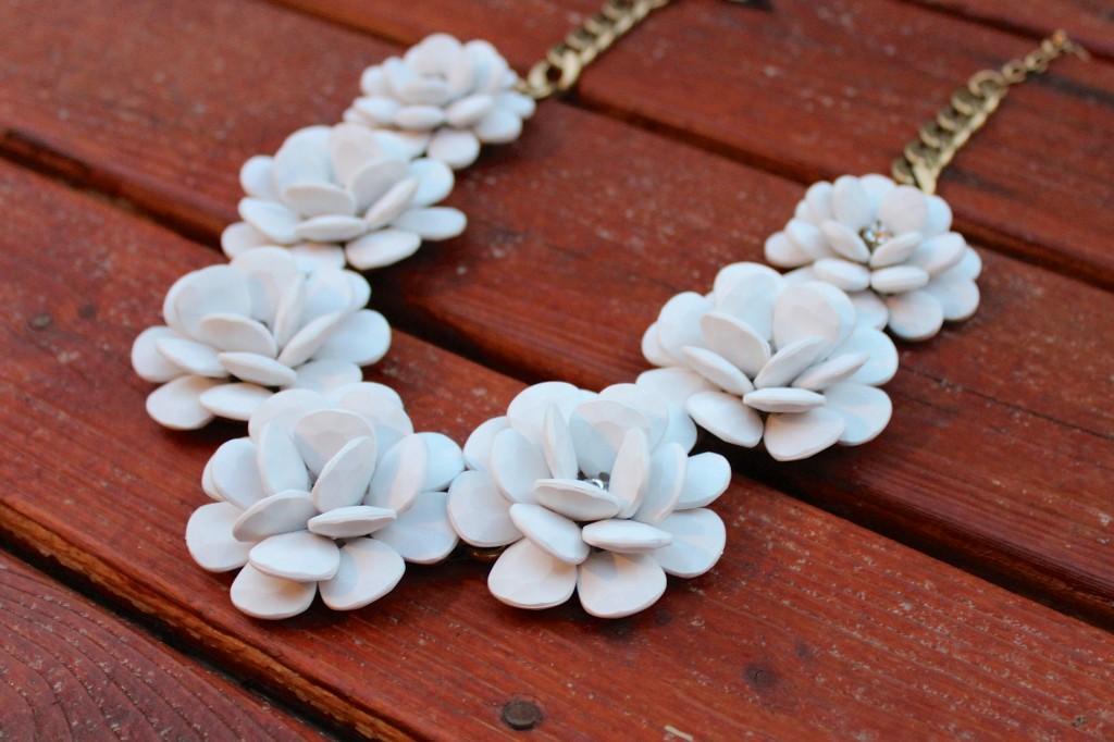 J. Crew White Rose Necklace