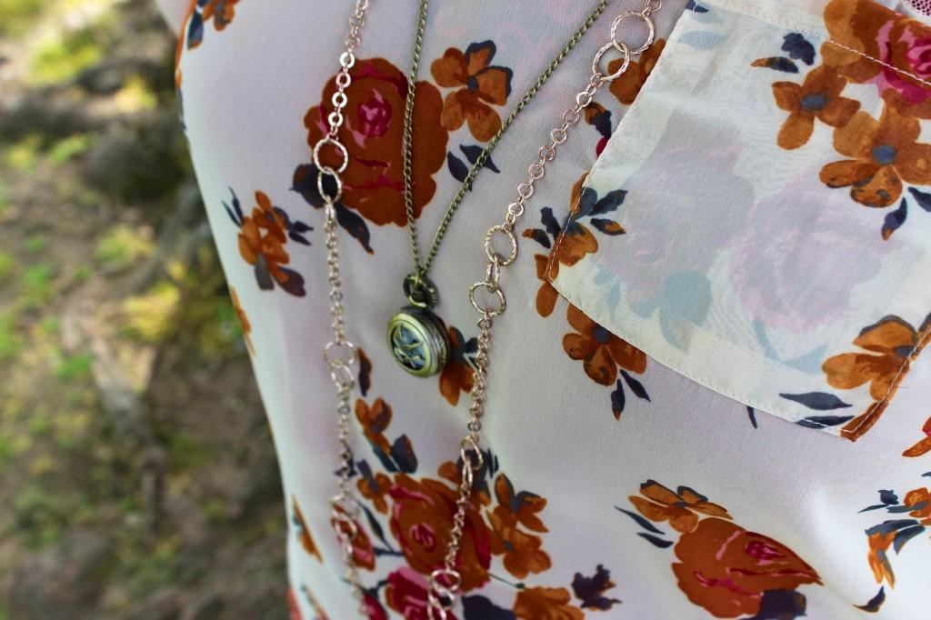 Bobeau Floral Blouse & Nordstrom Necklace