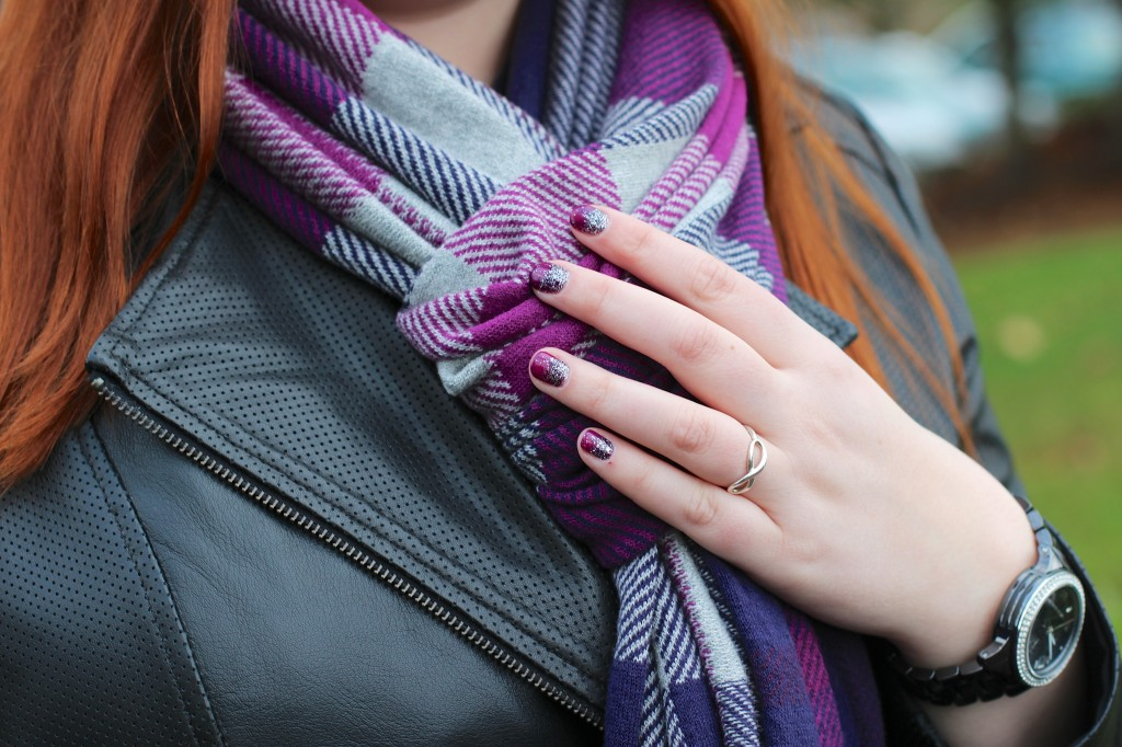 Burberry Scarf, Nails by Wink Beauty Bar, Michael Kors Watch, Tiffany Infinity Ring