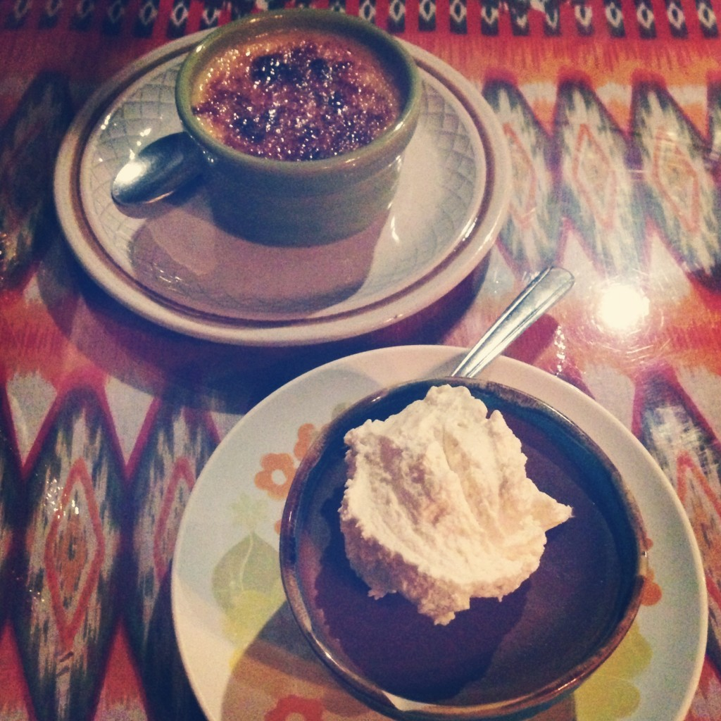 Orange Caramel Creme Brulee & Chocolate pot de creme at The Owl Spirit Cafe