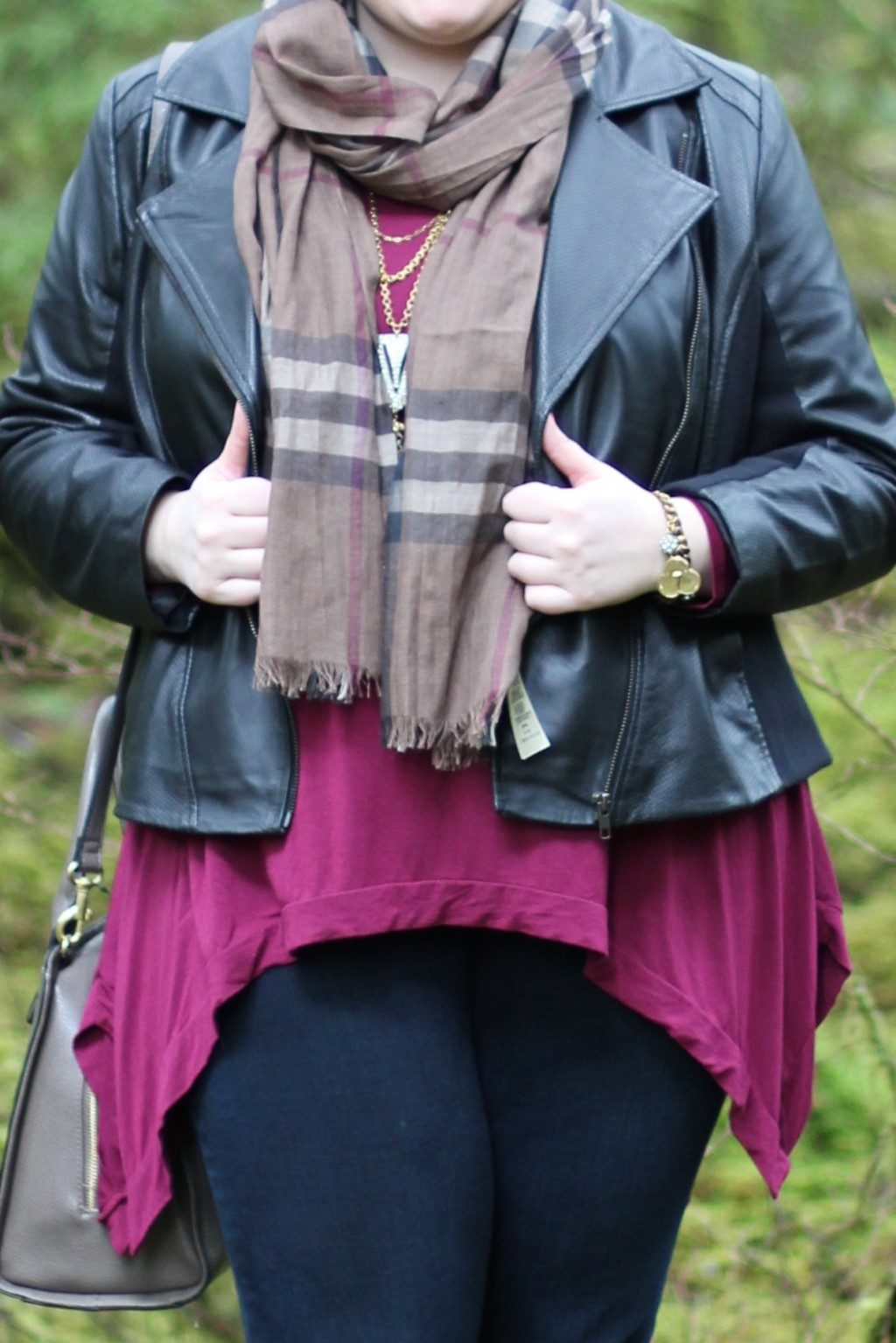 Burberry Scarf Detail & Sejour Leather Jacket