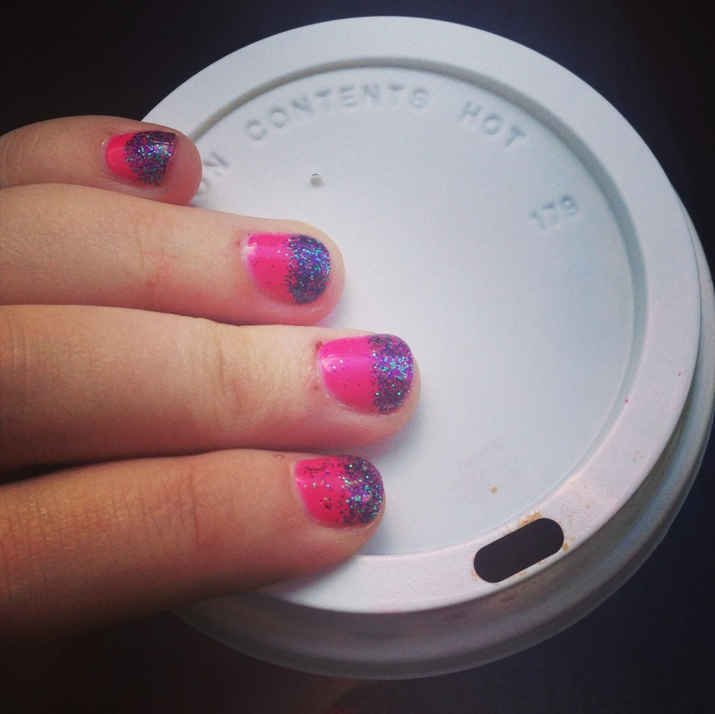 Pink and purple french manicure