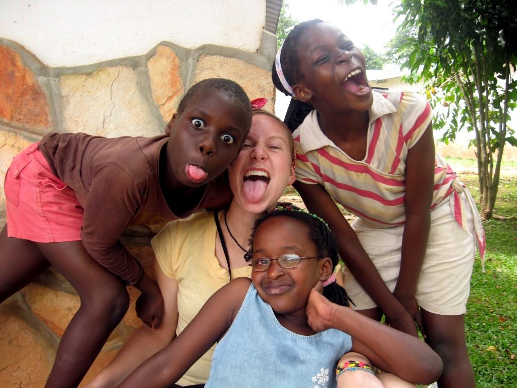Katie with children at Noah's Ark
