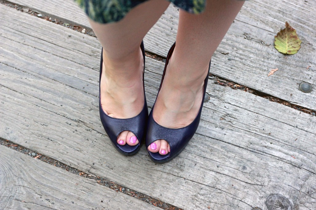 Navy Blue Peep Toe Pumps