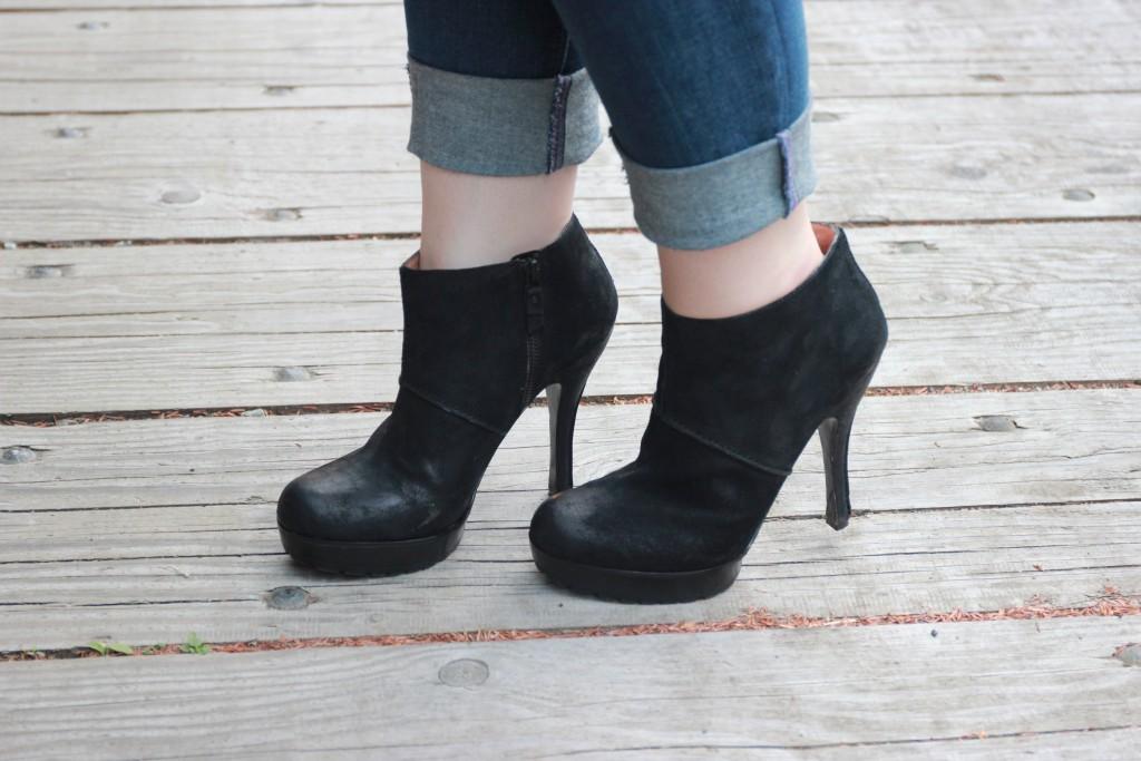Black Spike Heel Booties