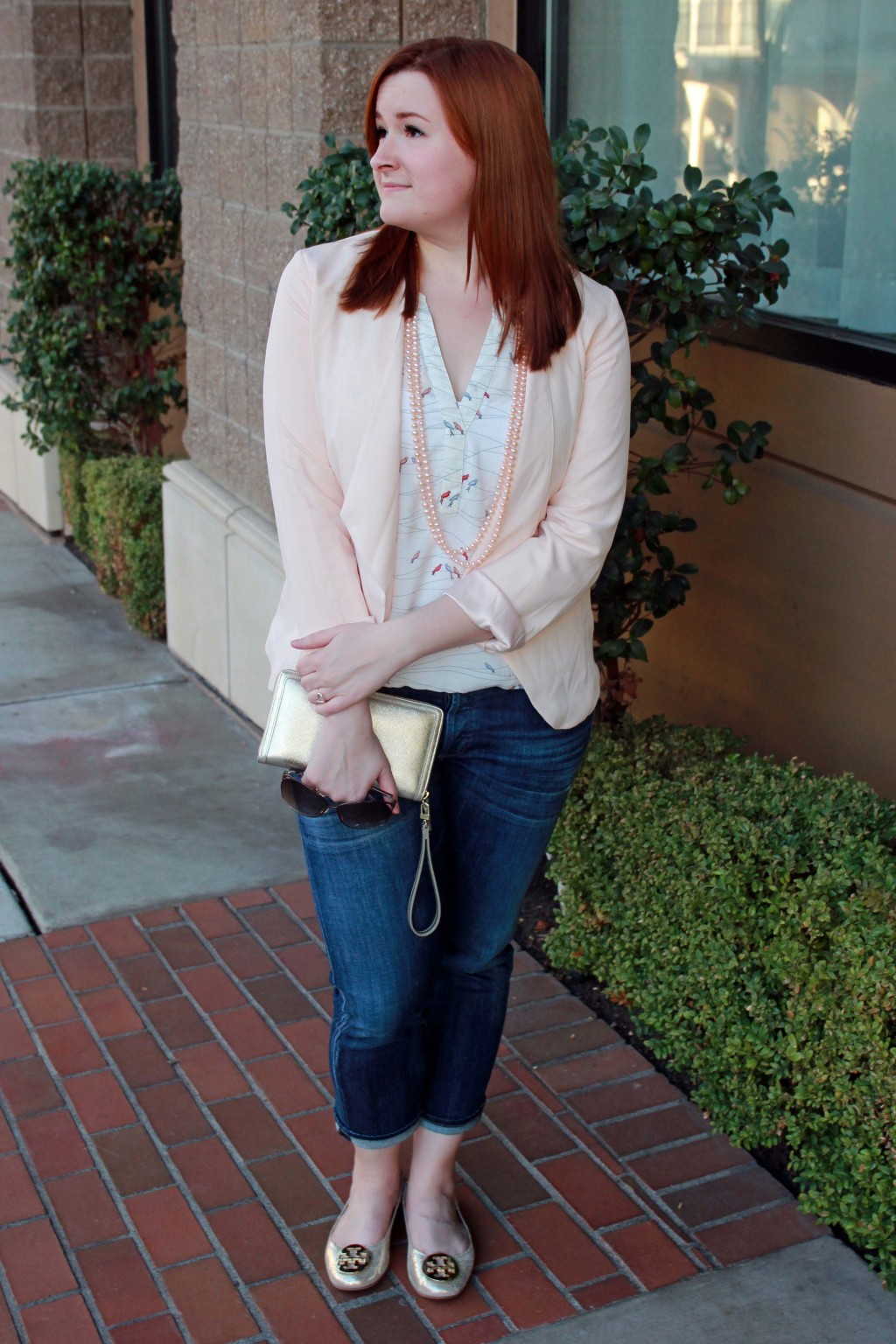 Blush, peach, gold and cream spring outfit style