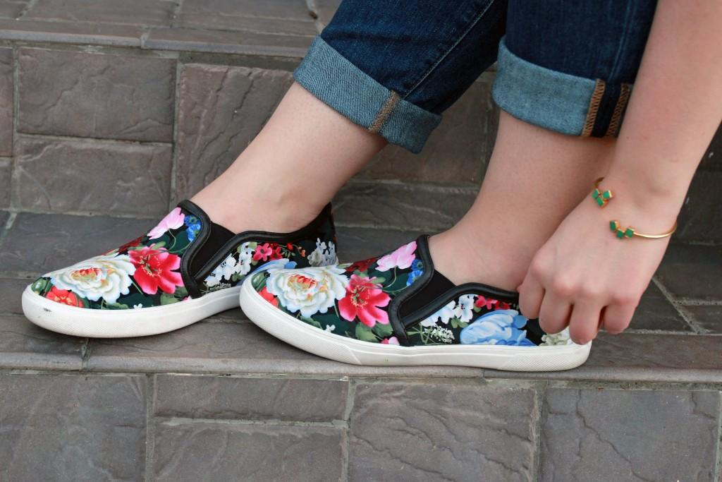 Floral Print Slip-Ons