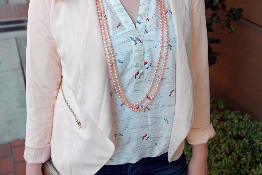 Styling pearl strands for a casual outfit