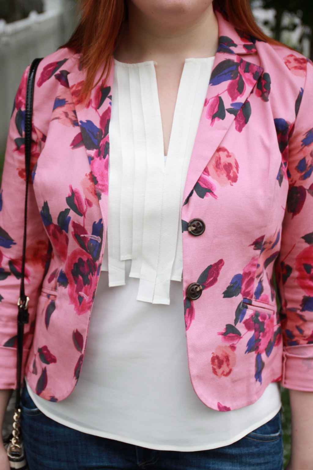 CAbi Floral Jacket with J Crew Grosgrain Top