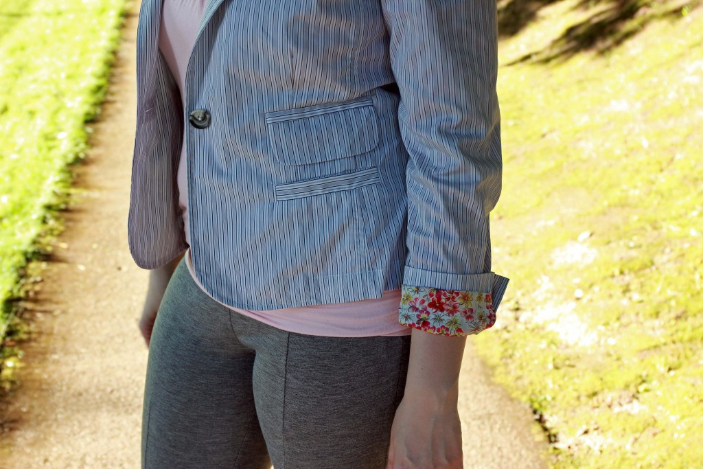 CAbi Jacket Contrast Pattern Sleeve Detail