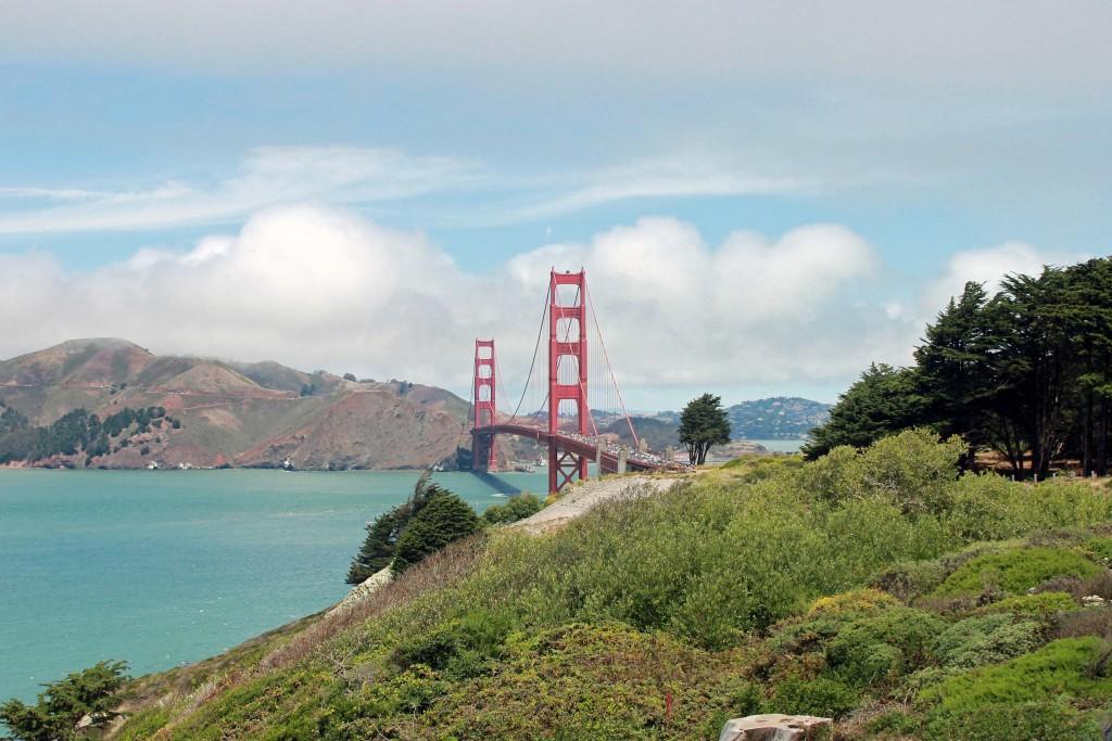 View of Golden Gate Bridge near Golden Gate Park