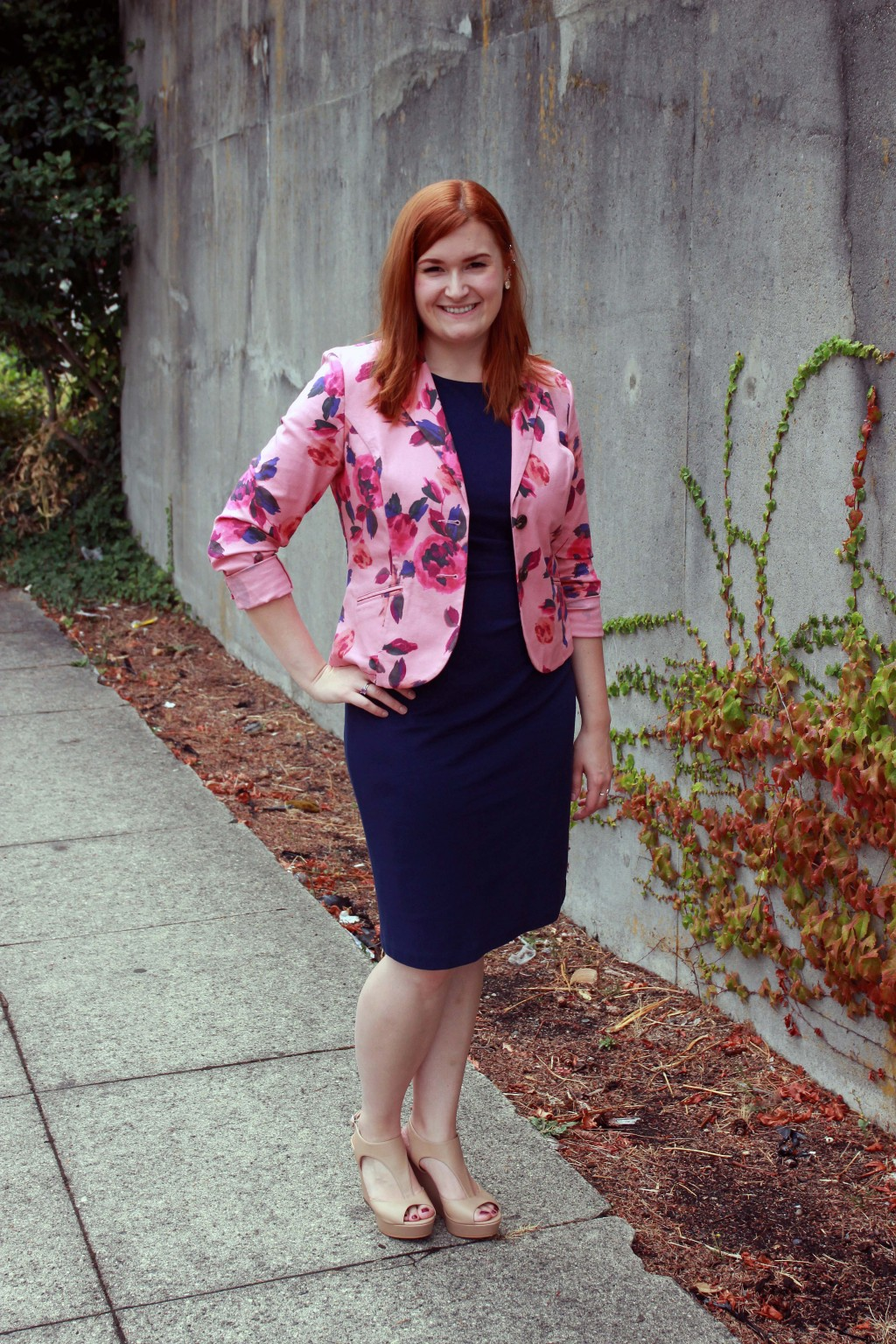 Fall dress with summer blazer to transition seasons