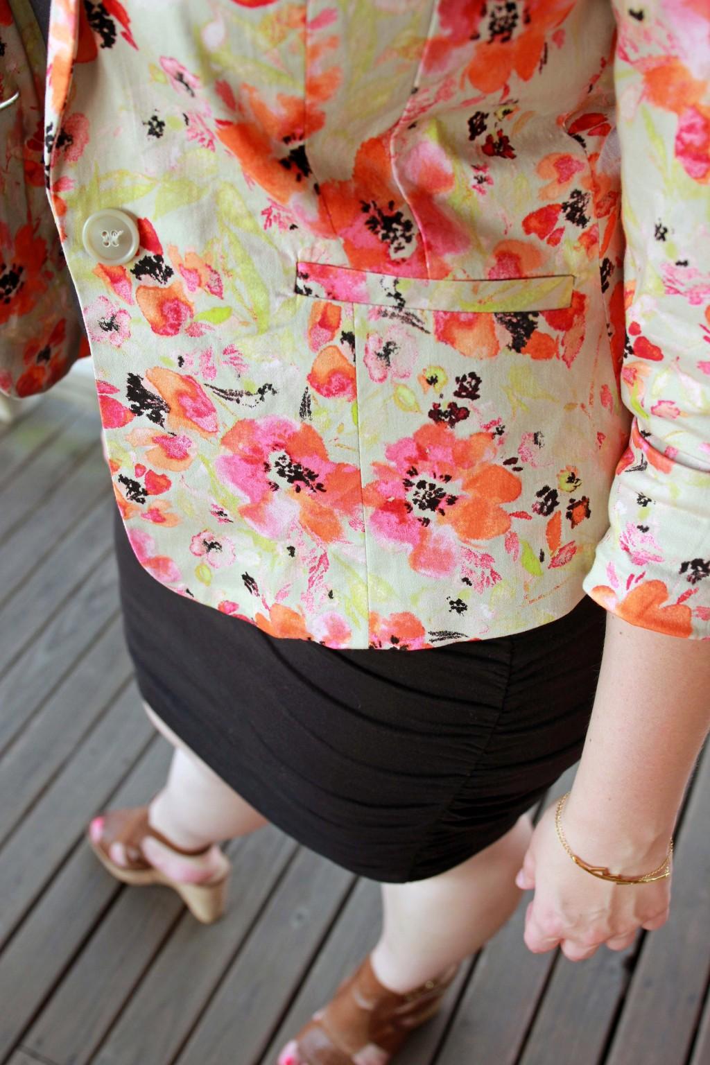 Floral print blazer detail