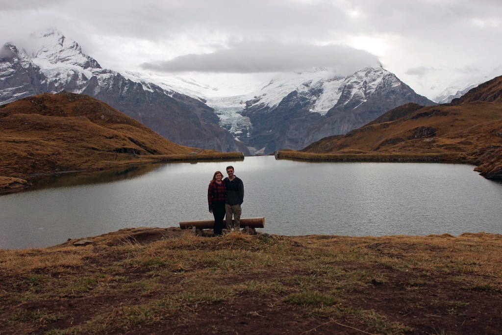 Kate & Jon overlooking lake at Bachalpsee First Grindelwald