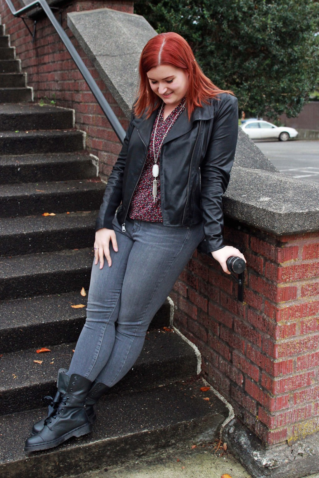 Black Leather Jacket and gray jeans style inspiration