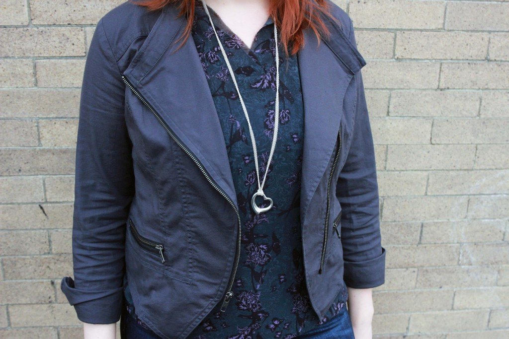 Cabi Twilight Jacket & Evermore Blouse with Tiffany Open Heart Pendant