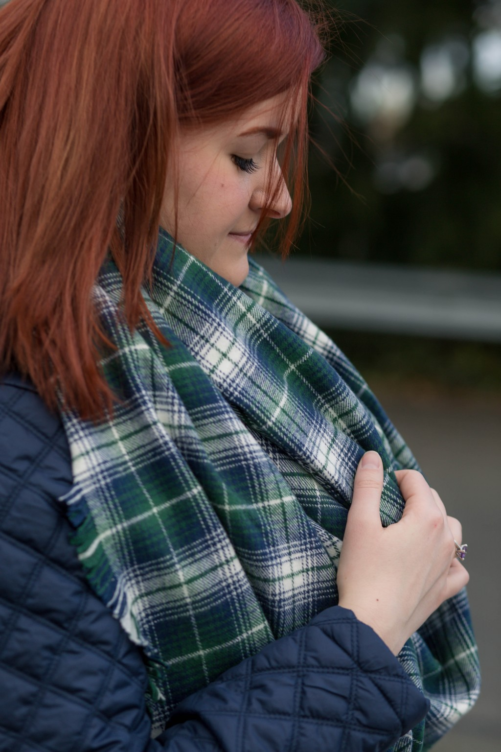 blue green white plaid blanket scarf