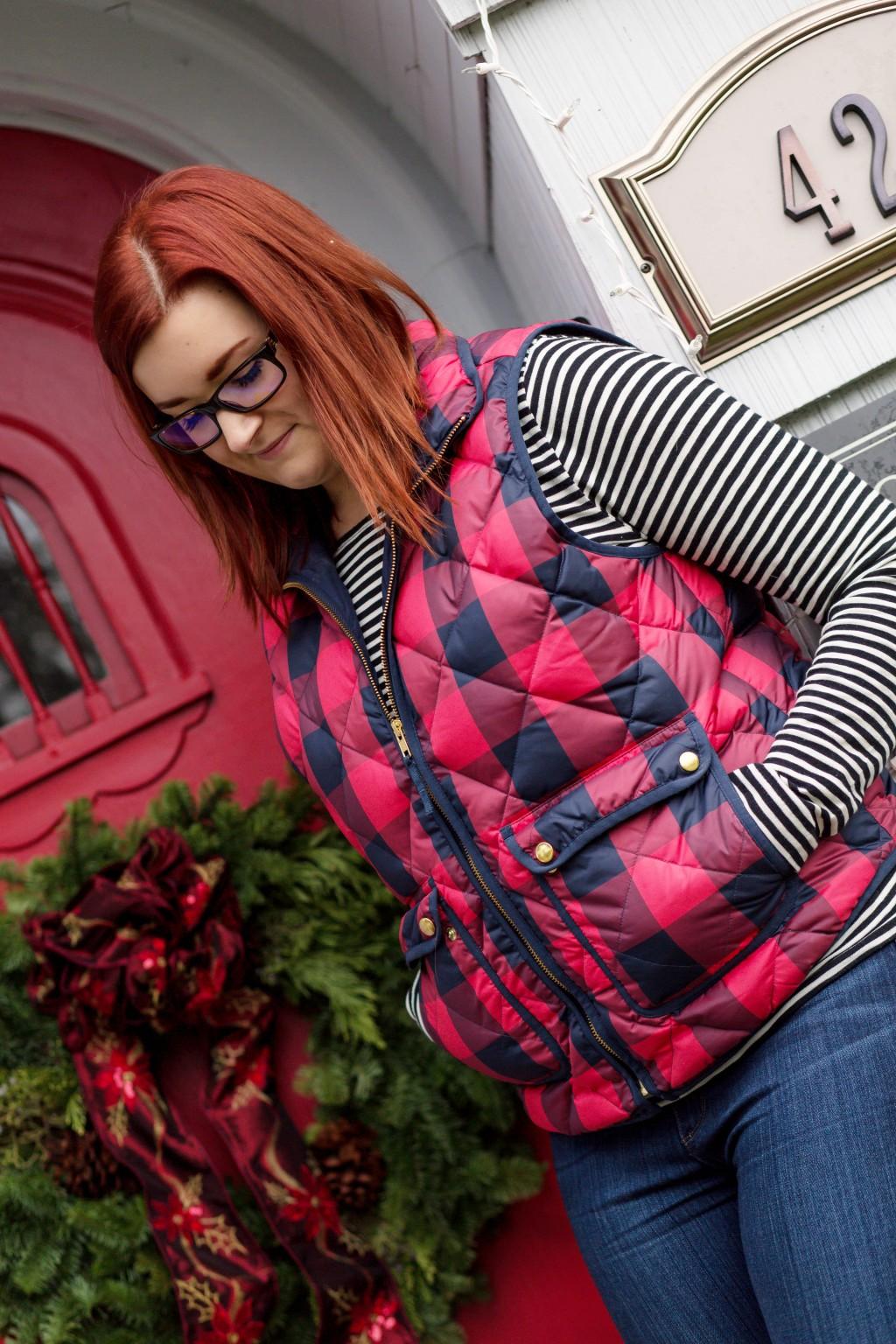 2 - Pattern Mixing striped shirt with buffalo plaid vest