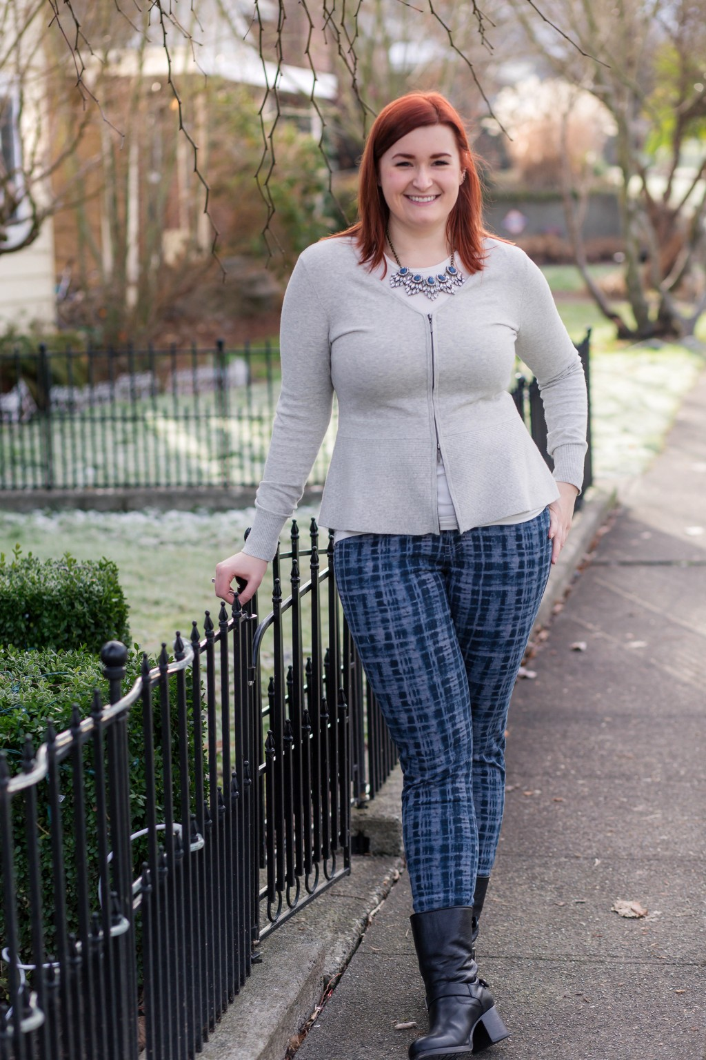 2 - styling plaid pants with neutral accessories and red hair