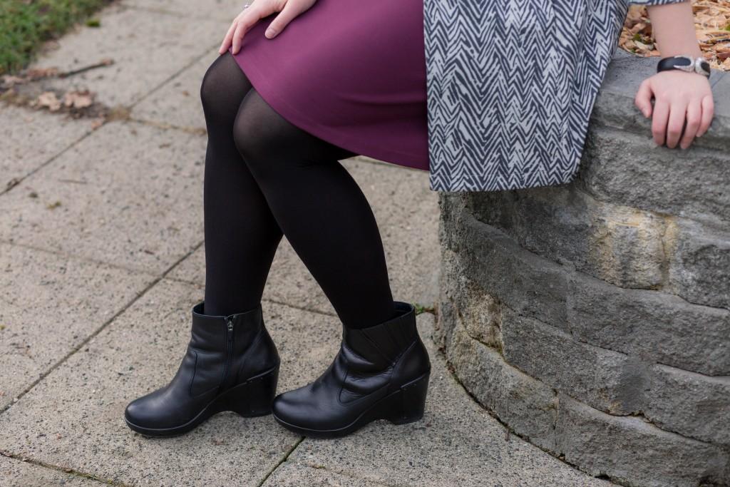 Comfortable black booties for work