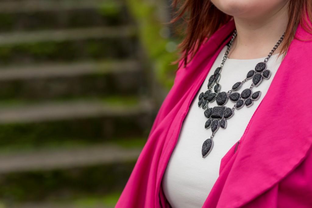 Multi level black statement necklace