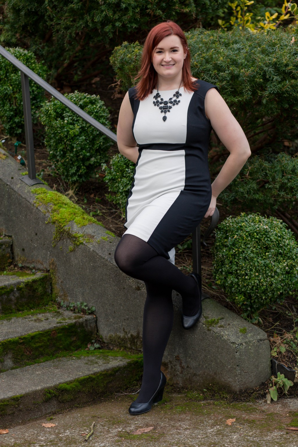 Styling tights with a bodycon dress
