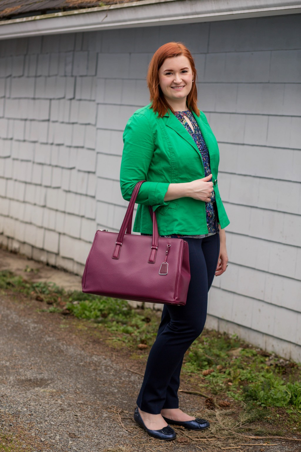1 - Navy blue and green business casual work attire