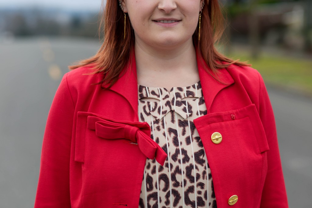 10 - Cabi Beau Jacket with bow detail and leopard print top
