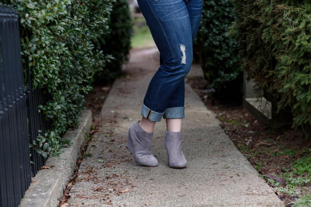 11 - Cuffed boyfriend denim with ankle booties