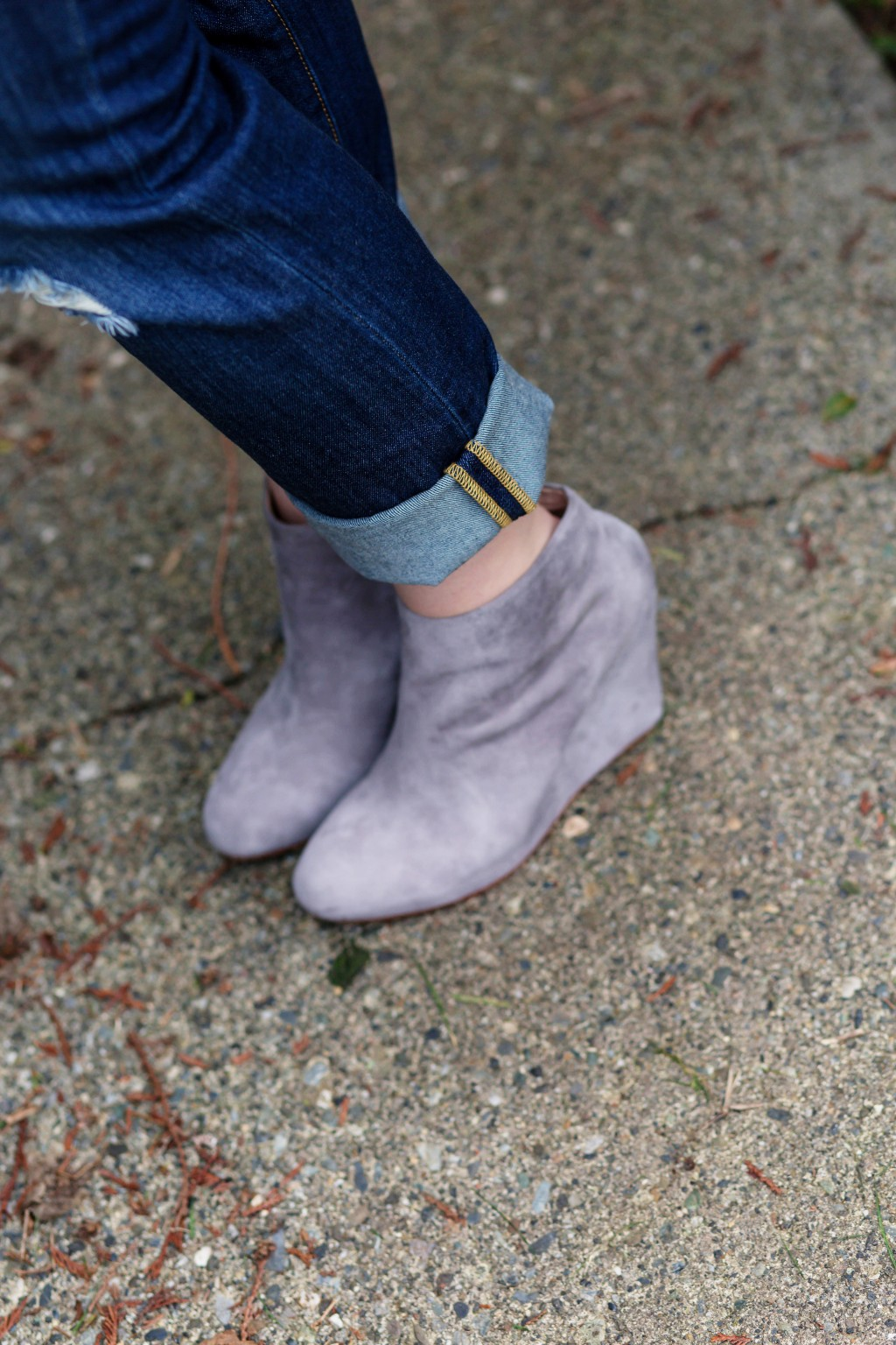 12 - Gray suede ankle booties