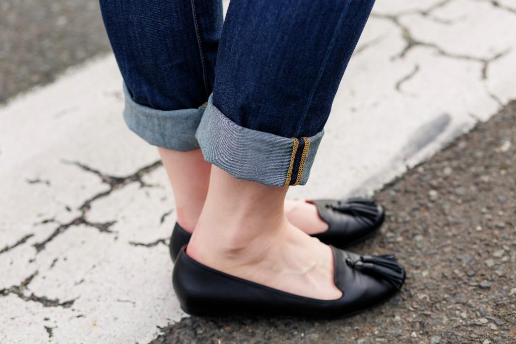 12 - cuffed boyfriend denim with loafers