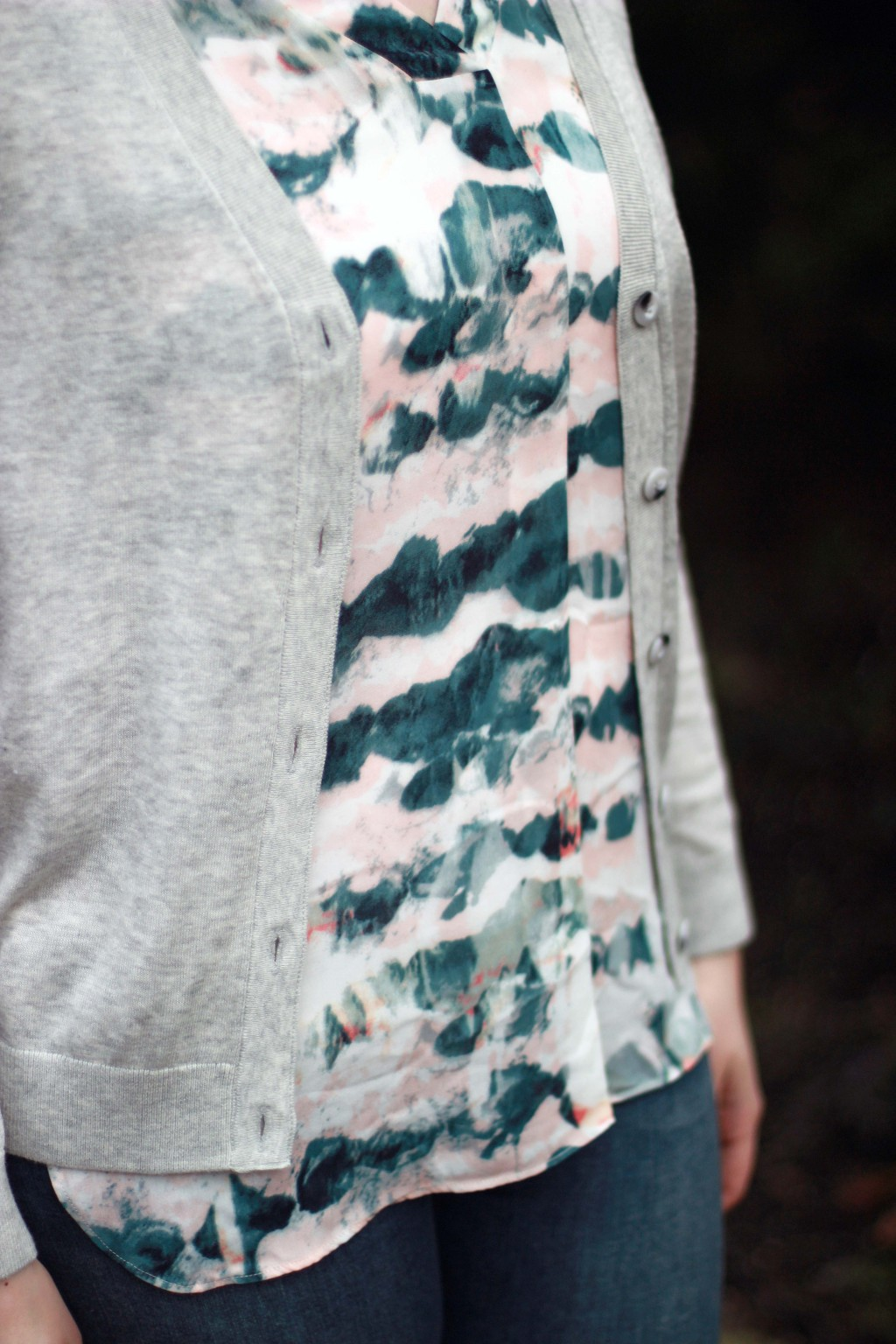 13 - gray sweater and watercolor blouse detail