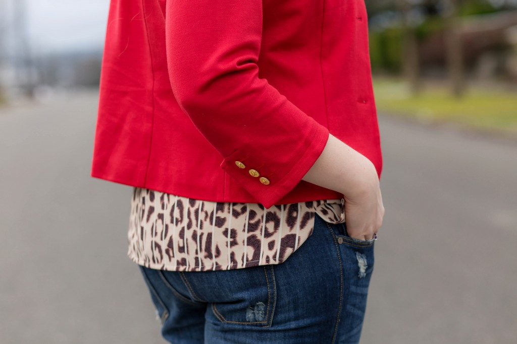 15 - leopard print top red jacket outfit inspiration