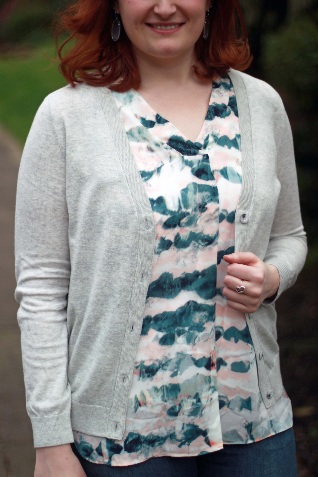 9 - watercolor top with gray sweater