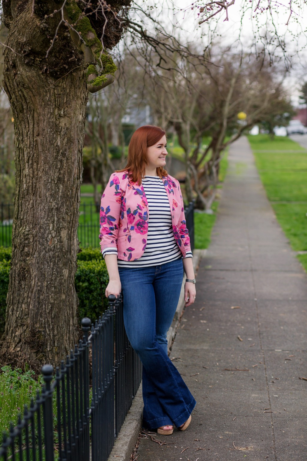 Styling flares for spring with floral and stripes