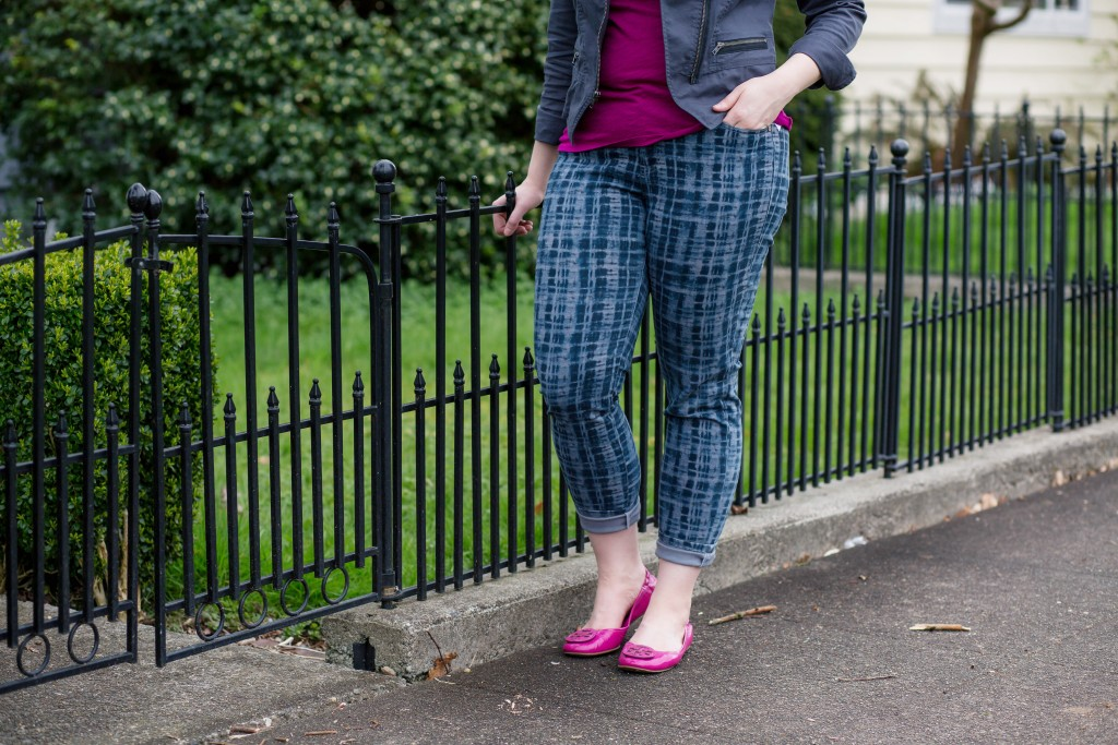 5 - plaid denim cabi grid jeans with hot pink accents