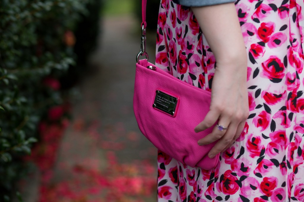 6 - hot pink Marc Jacobs bag and rose print skirt