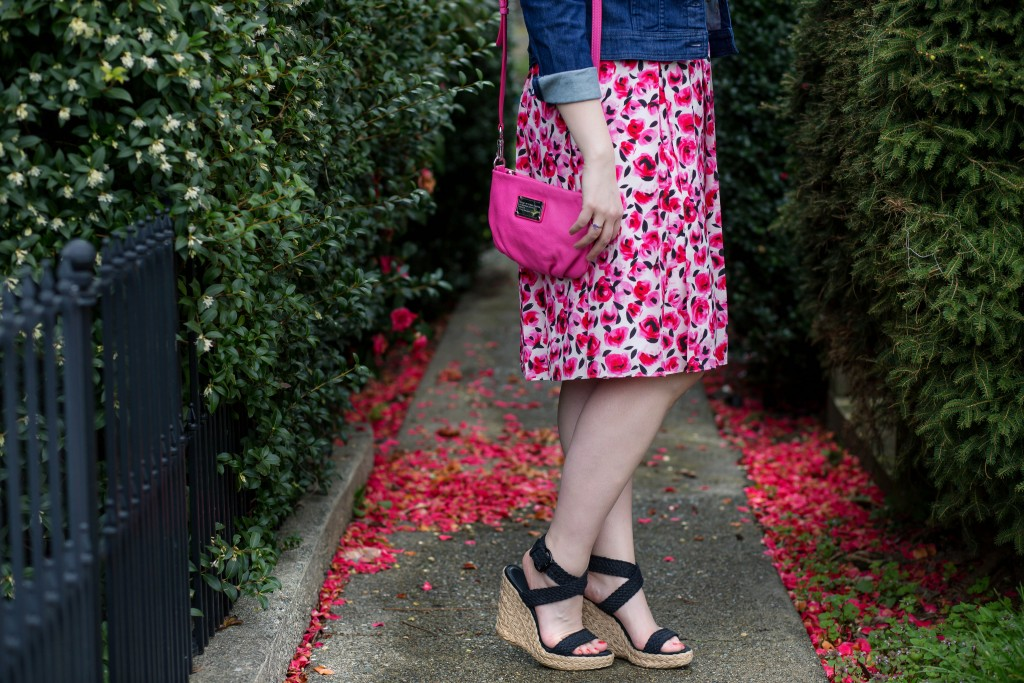 7 - rose print skirt with wedges for summer