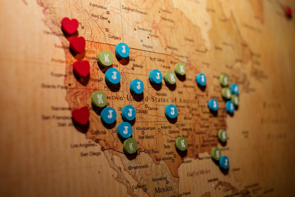 1 - Travel Map and Pins for Couples