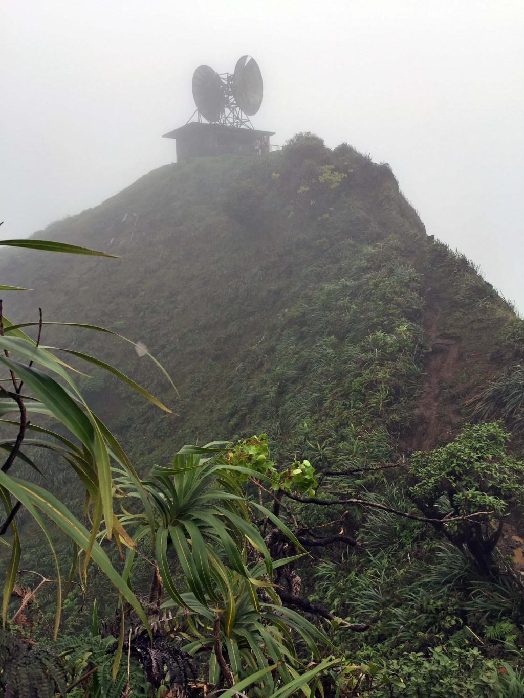 15 - View of satellite station at Haiku Stairs from Moanalua Middle Ridge