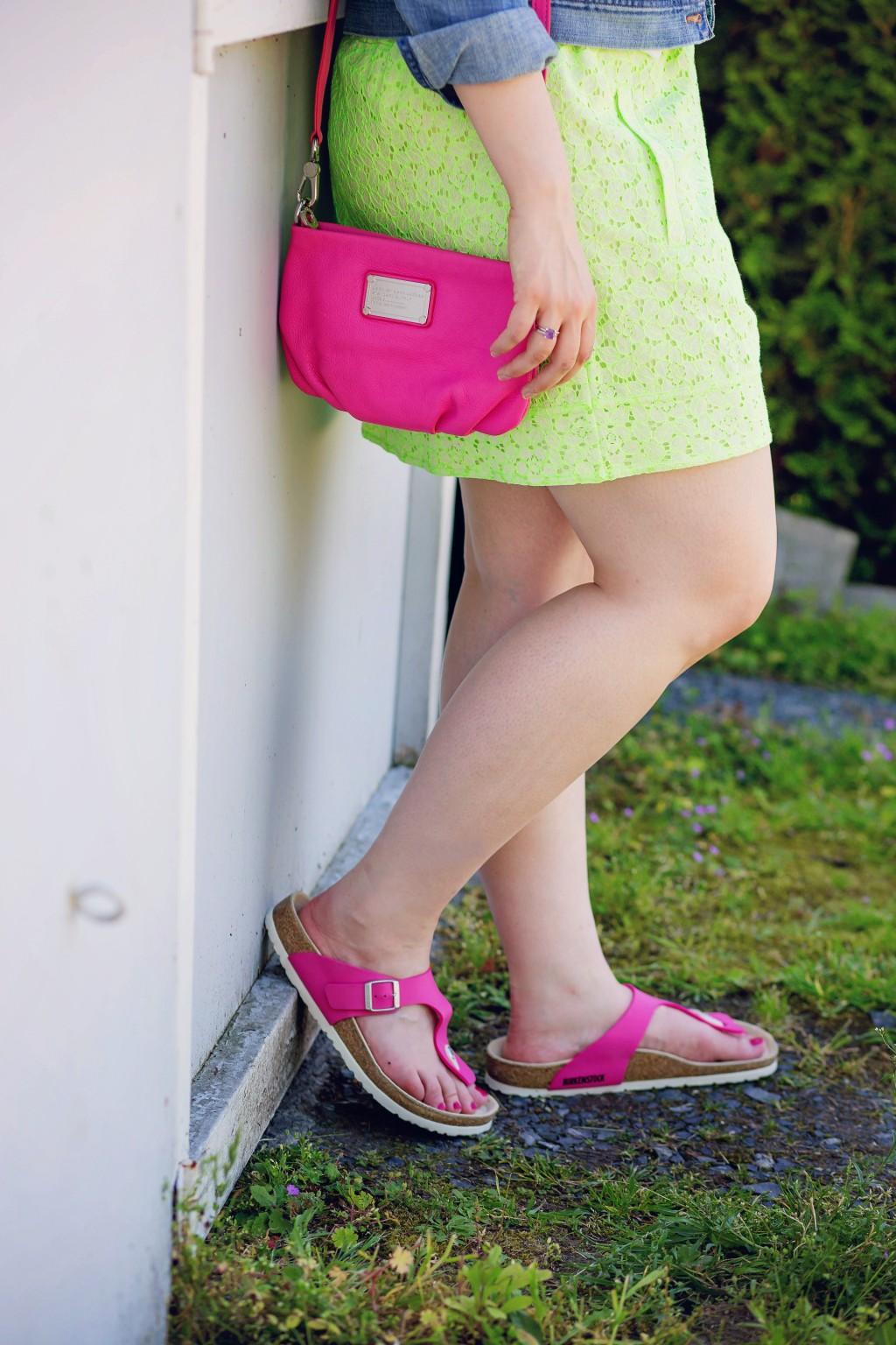 4 - J.Crew neon lace skirt with pink Birkenstocks