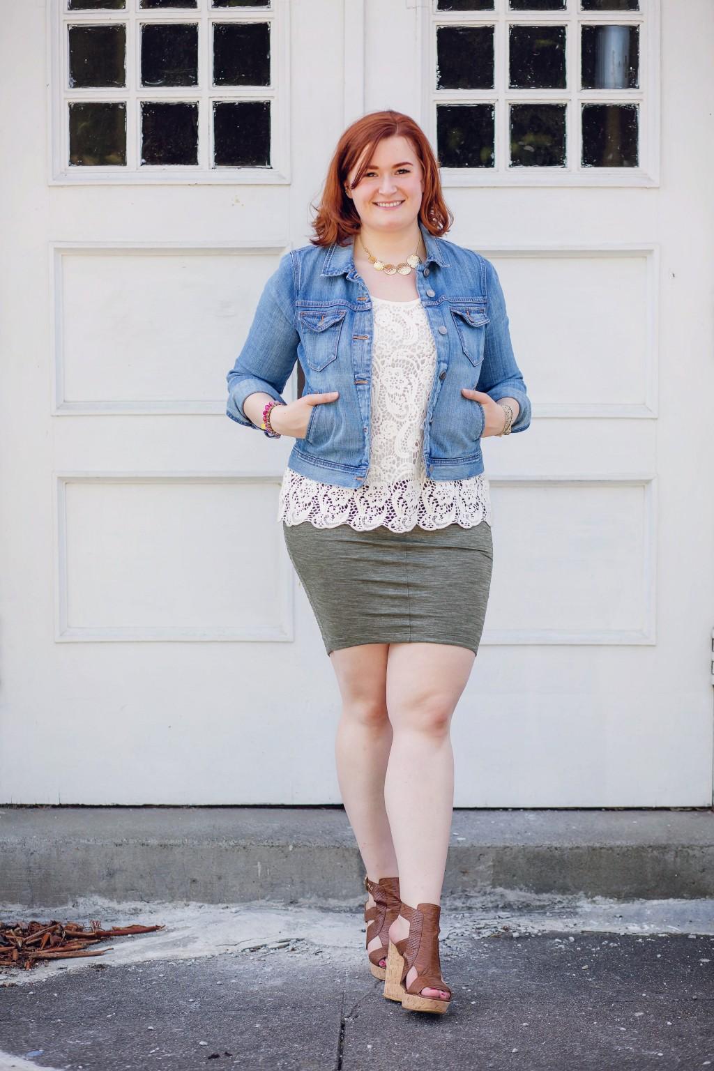 1 - Kate Retherford of All Things Kate in Lululemon Wanderlust Skirt, Stuart Weitzman Wedges, JCrew Denim Jacket, Cabi Lace Top