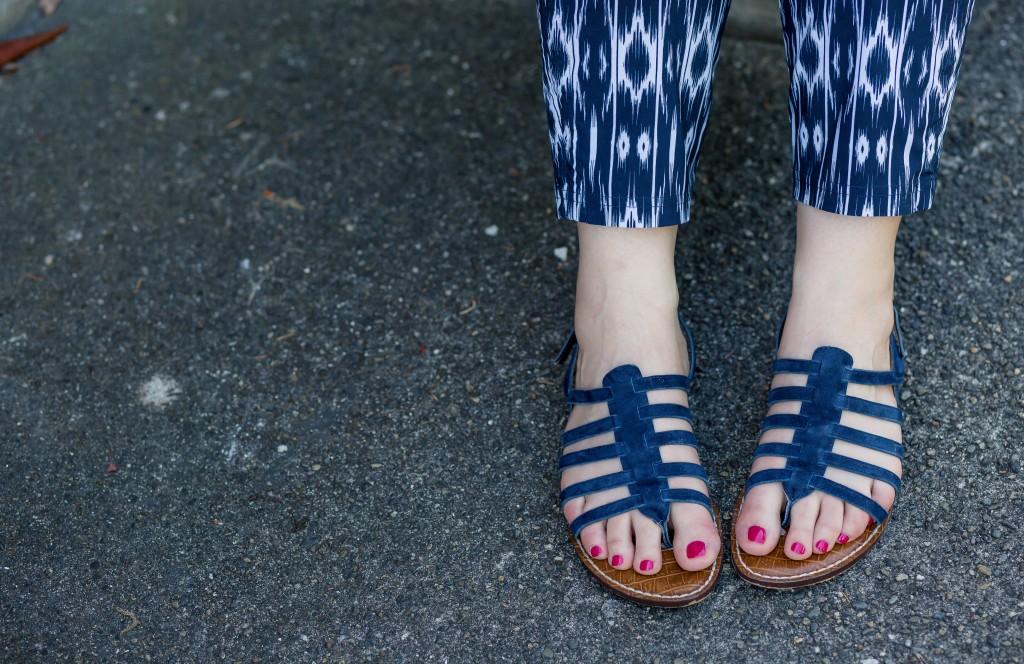 11 - Sam Edelman Navy Blue Strappy Sandals