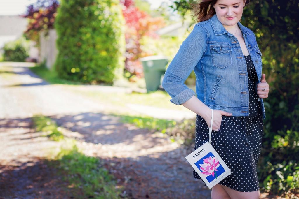 3 - polka dot dress and peony clutch