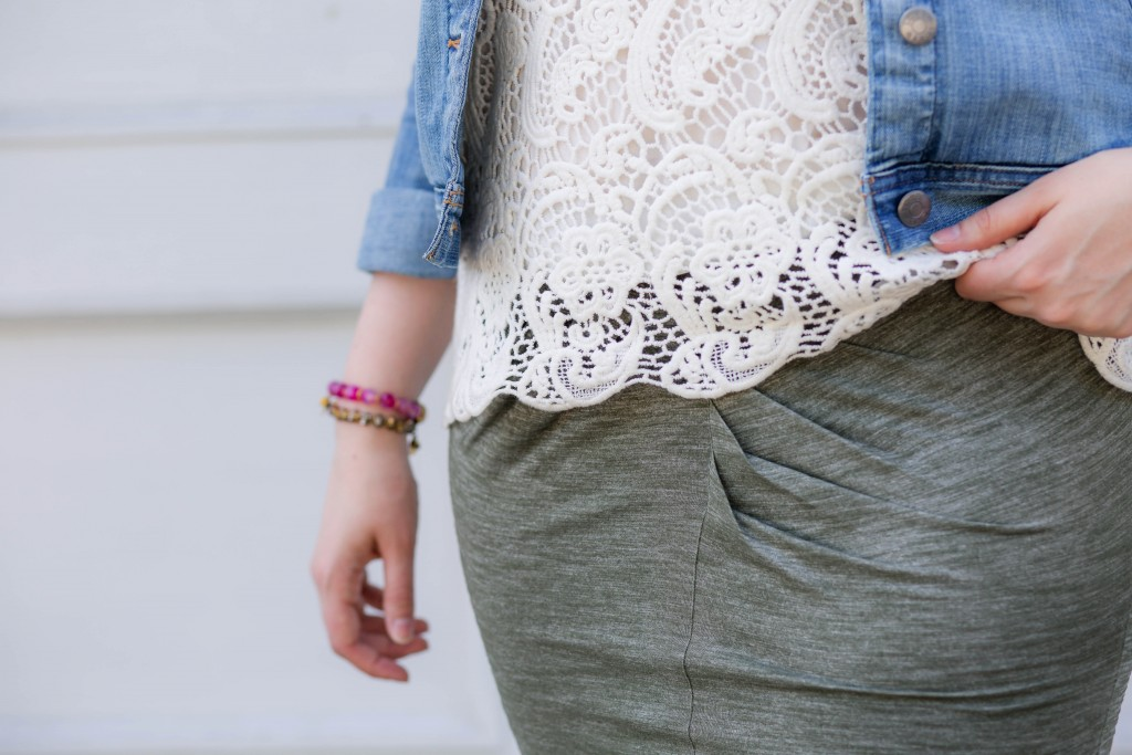 9 - Cabi Lace Top with green skirt and denim jacket