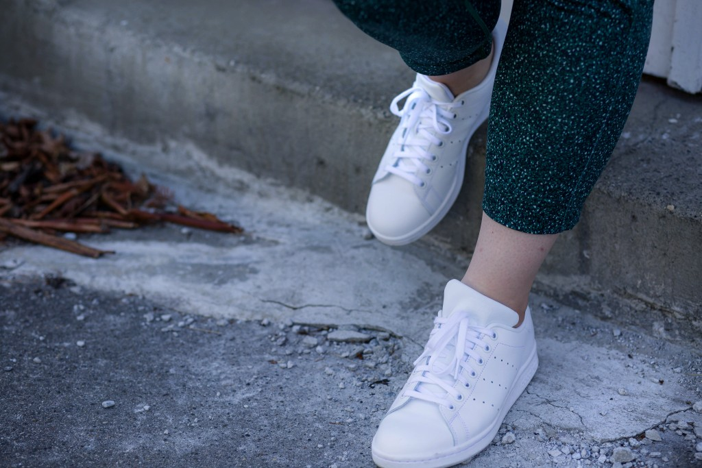 11 - all white sneakers with printed pants