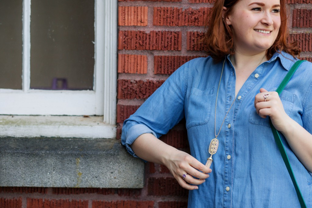 9 - Long gold necklace with chambray top